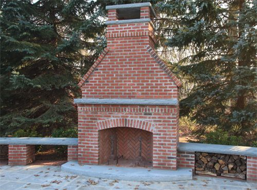 brick and bluestone outdoor fireplace in bernardsville nj gardens