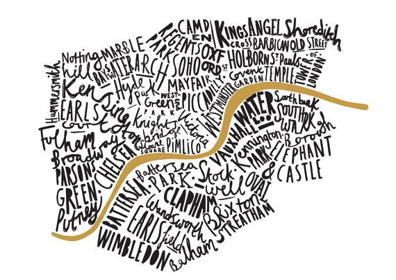 This lovely hand drawn typographic London print shows the well known areas of the fantastic city London. This wonderful London map inspired print is