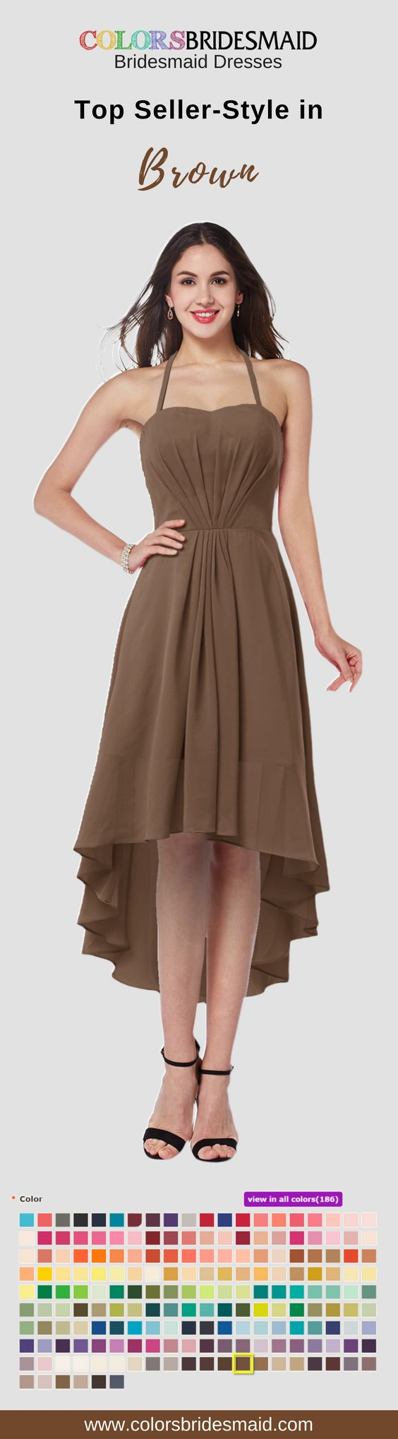 Looking for stunning short bridesmaid dresses in brown color? This dress with fashionable style, cheap price- under $100 and high quality has become the top seller. It can be custom made to all sizes.
