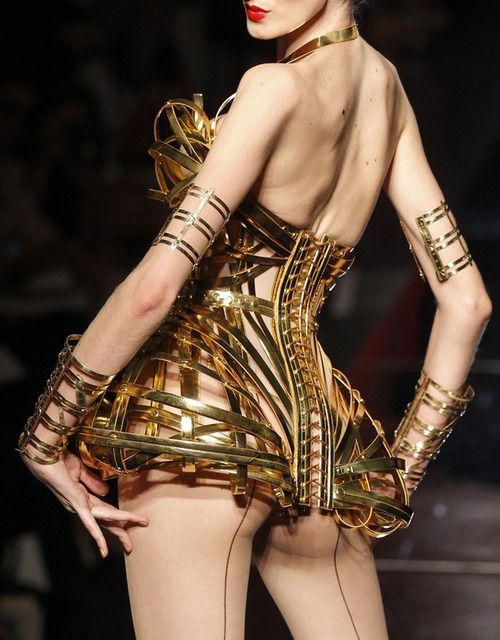hmmm... what to wear with this Jean Paul Gaultier gold corset?