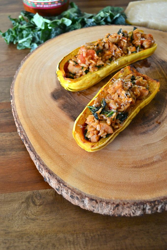 Kale & Chicken Sausage Stuffed Delicata Squash - Easy and Healthy ...