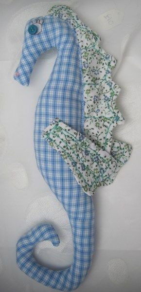 Sea Horse In Blue Checked Fabric - SALE £5 - Creative Connections