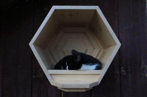 The CatComb is a refined yet ruggedly reinforced solid pine wood structure that your cat will seek as a place of refuge and distinction. The inset