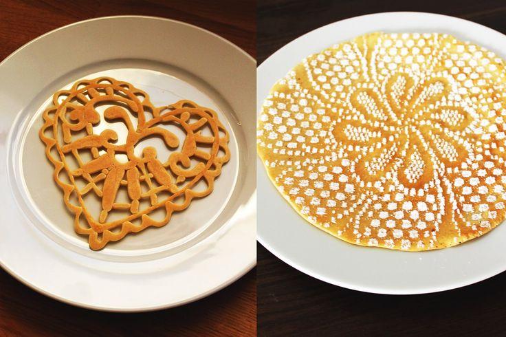 Pancake art - Lace Hearts + lace decor