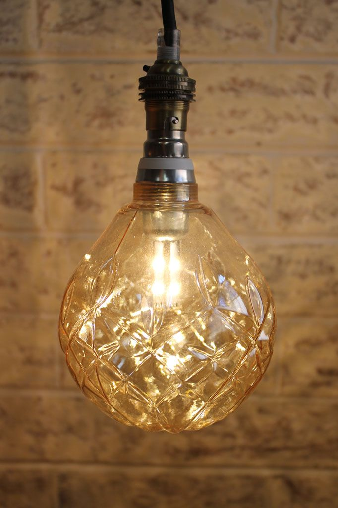 Led Crystal Light Bulb In Amber On A Pendant Cord Www