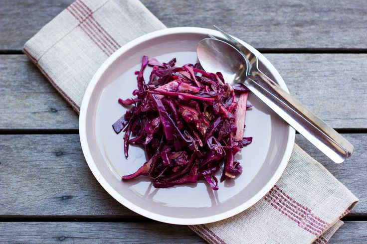 This red cabbage coleslaw is easy to make and the perfect accompaniment to a summer barbeque. You'll love the beautiful flavours of apple, onion, feta, pastrami and basil, perfectly married with Barker's Blackcurrant Fruit Syrup and balsamic vinegar.