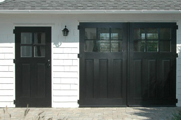 Real Carriage Doors Closeup Home Exterior