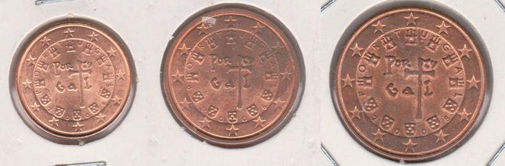 1, 2 und 5 Cent Euro 2008 - Portugal Münze Unzirkuliert UNC