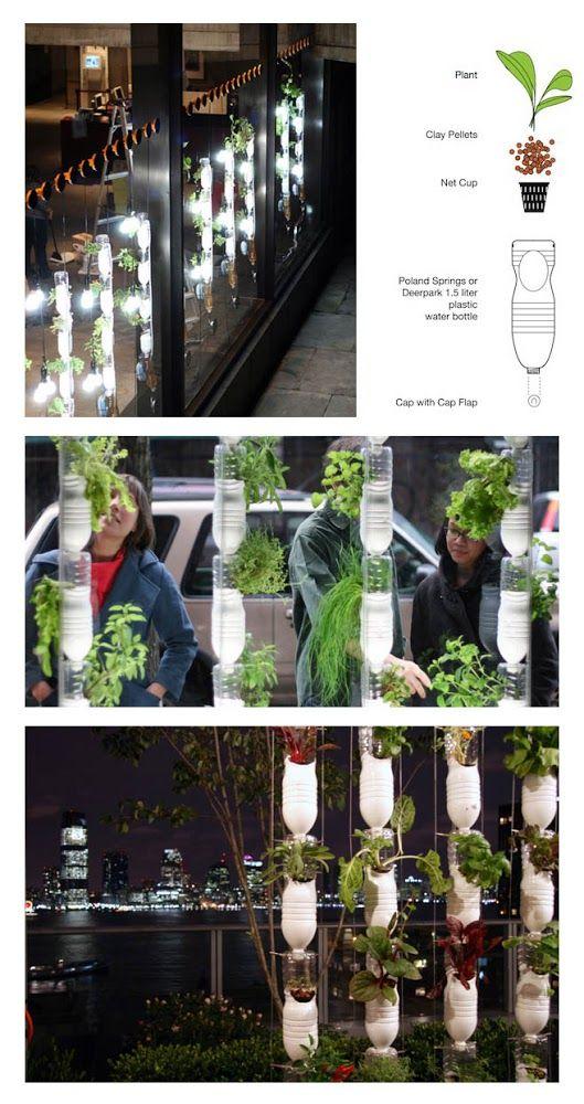 Ideas : Plastic Bottle Vertical Garden.  Paint Plastic bottle any color you want or leave clear.
