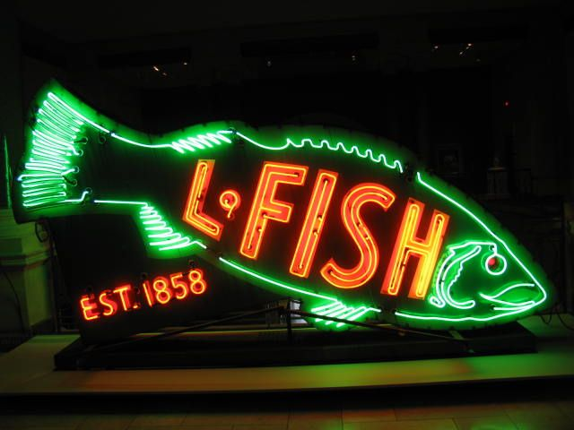 This was taken at the Cincinnati Art Museum.  For a short time they have some neon signs on display. This sign used to be in Chicago at a furniture company.