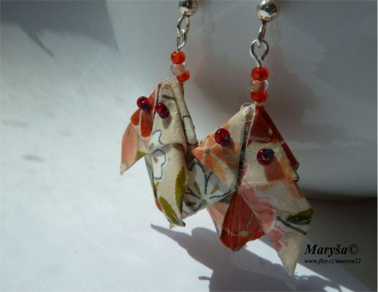 Rabbit origami earrings.