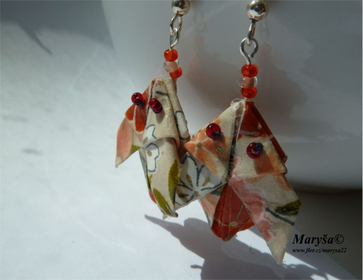 Rabbit origami earrings.
