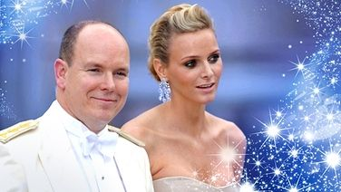 Bildmontage: Prinz Albert und Charlene Wittstock von einem Sternenstreif umrahmt.