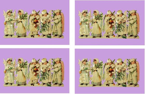 """Digital Download Victorian Style Xmas Scrapbooking Cardmaking Motif """"Snow Angels"""" PDF collage paper crafts"""
