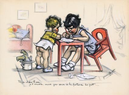 """""""Le rémouleur"""" les petits métiers, illustration de Germaine Bouret (1907-1953)"""