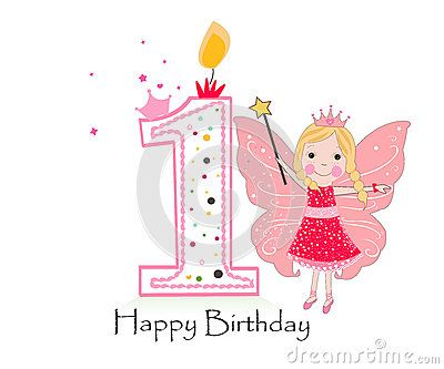 Happy first birthday candle. Baby girl greeting card with fairy tale