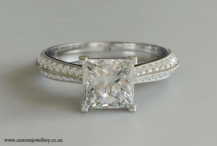 Newest Engagement Ring Designs With Princess Cut 9