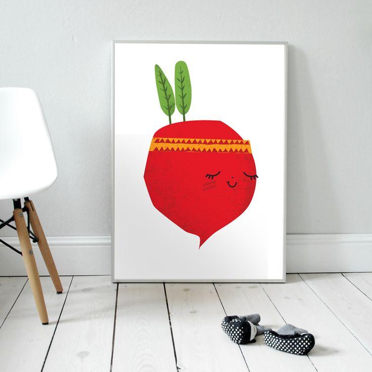 Waleczna Rzodkiewka. Plakat dla dzieci. pokój dziecka   rzodkiewka   ilustracja   nursery poster   scandinavian style   radish   vegetables   veggies   indian   baby   illustration   baby room
