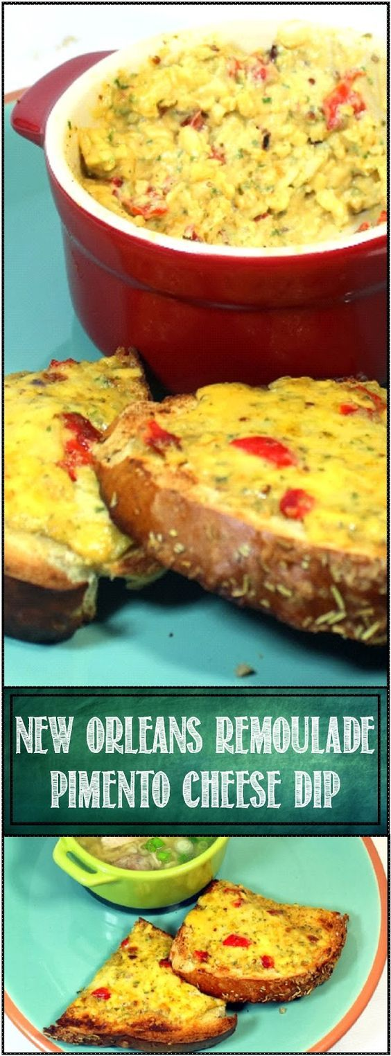 Pimento Cheese Dip New Orleans Remoulade Style, The classic Southern Cheese Dip gets a New Orleans make over... Terrific as a dip (Just add Fritos Scoops). But I really think this recipe shines as a spread to make a wonderful Toasted Cheese Sandwich. The little toast sandwiches work great as an appetizer fresh off the grill! HAPPY Mardi Gras