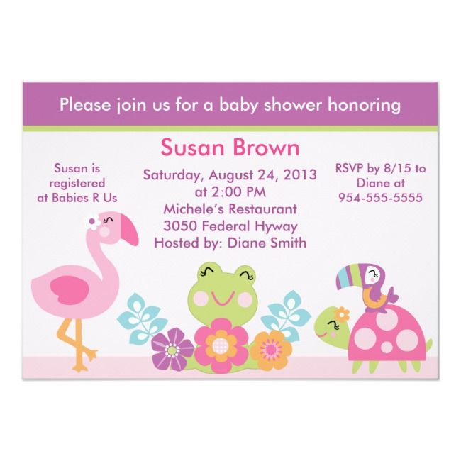 Tropical Garden/Animals Baby Shower Invitation #tropical #botanical #leaf #flamingo #baby #shower #party #celebration #invitations #invite