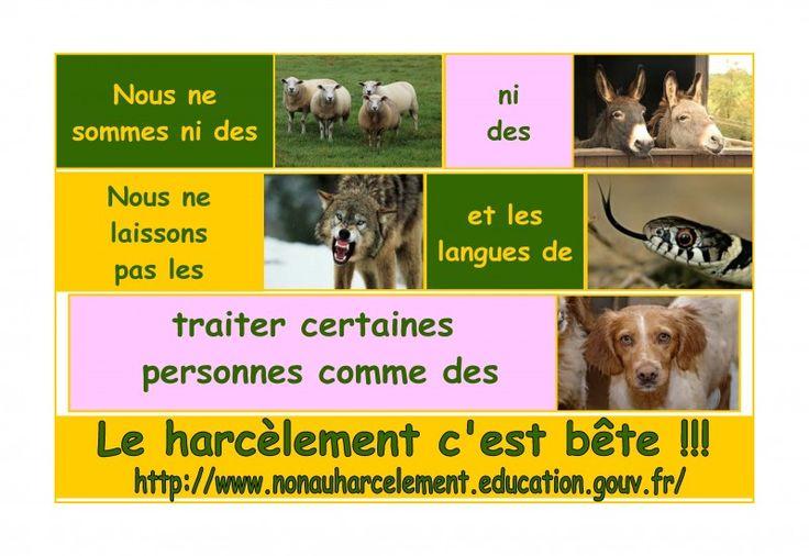 catégorie affiche- collège 65  les élèves du collège Simone Signoret - Aubevoye - académie de Rouen - Le harcèlement c'est bête