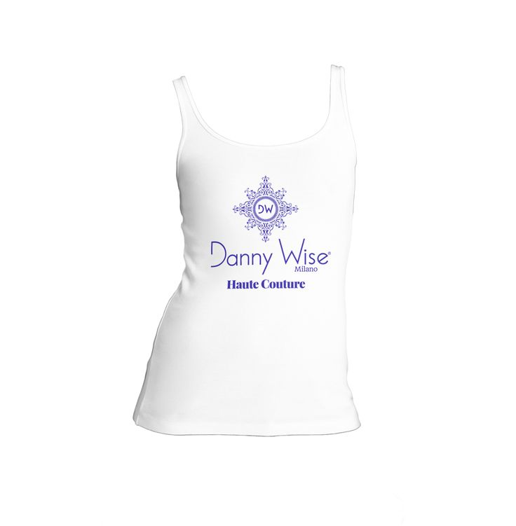 DANNY WISE Tank -Canotta Original: Model Lady slim  100% Cotton  Color White Logo Blu Wise   stamped by Hand in Italy.      size S-M , only in official Boutiques- Stores- Megastores  Danny Wise for your luxury free time .
