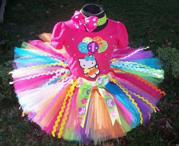 Pink Rainbow Hello Kitty Balloons Birthday Girl Tutu Set