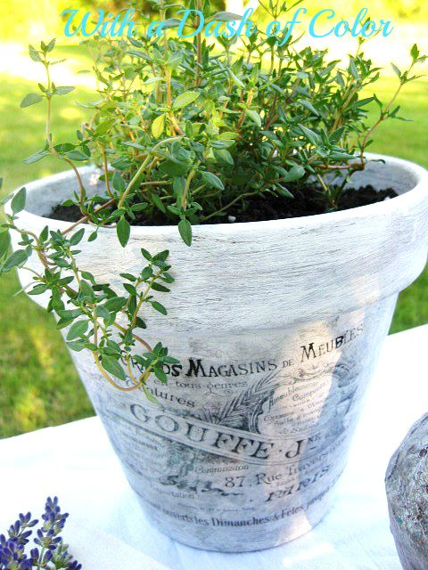 "Decoupaged ""French"" Pots - coat of gesso, a bit of gray paint, mod podge image (image from the Graphics Fairy) - beauties!"
