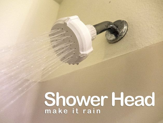 """Are you looking for a fairer faucet?  Let me be your angel, Charlie!   This is the first revision of a shower head intended to screw on to a standard 1/2"""" threaded shower pipe.   Pressurized water is a tricky thing to deal with; especially with 3D prints.  The nozzles on this are designed to keep turbulence low and under adequate pressure, the taper on the business end of the hole should keep the water stream solid.  They are pretty small holes so they will likely close up a bit whe..."""