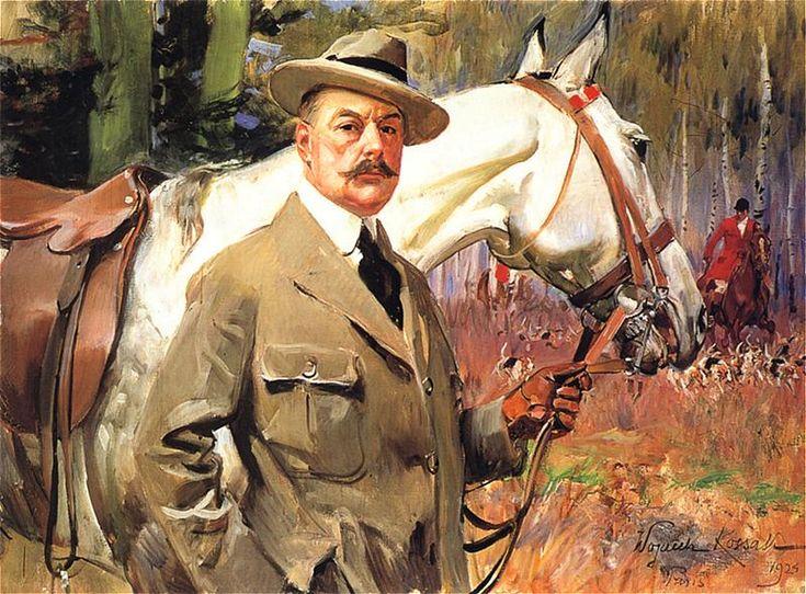 Wojciech Kossak - Autoportret z koniem na polowaniu, 1924