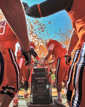 Tiger Traditions: The players running down the hill into Death Valley