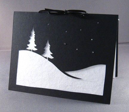 Cut Paper Snow Scene Christmas Silhouette Greeting by arwendesigns