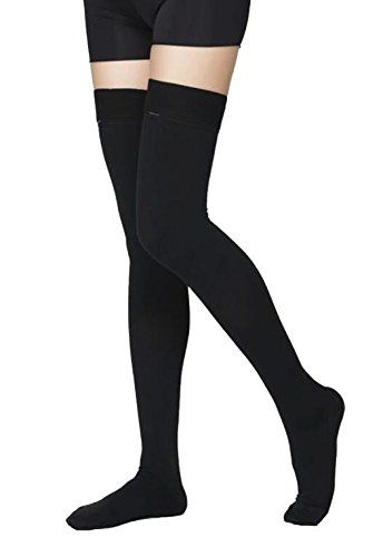 Thigh High Compression Stockings, Opaque, Firm Support 20-30 mmHg Gradient Compression with Silicone Band, TOFLY Closed Toe Compression Stockings, Treatment Swelling, Varicose Veins, Edema.:   brTOFLY Thigh high Compression Socks are 1280D GRADE brwhich means they will fit tightly with a graduated compression of about 20-30mmHg. brDO NOT expect these to fit like regular socks. brThey need to fit tightly in order to work their magic! brbr br★★★ Check the size chart included in our listi...