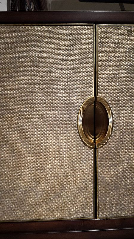 CARACOLE Cabinet - Shimmering Seagrass covered doors + oval recessed hardware - Showroom Tour - Lynda Quintero-Davids #DesignOnHpmkt #HPMKT 2015
