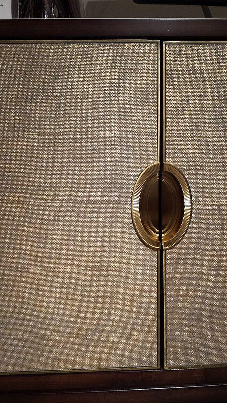 CARACOLE Cabinet - Shimmering Seagrass covered doors + oval recessed hardware - Showroom Tour - Lynda Quintero-Davids #DesignOnHpmkt #HPMKT 2015