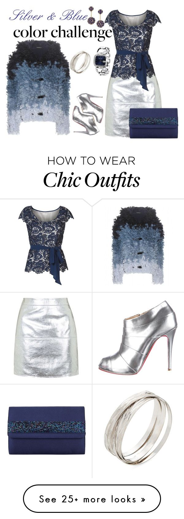 """Le Freak C'est Chic - Blue & Silver"" by tweedleduh on Polyvore featuring Tom Ford, Topshop, Jacques Vert, Christian Louboutin, Kenneth Jay Lane, Roberto Coin, Gucci, John Lewis and blueandsilver"