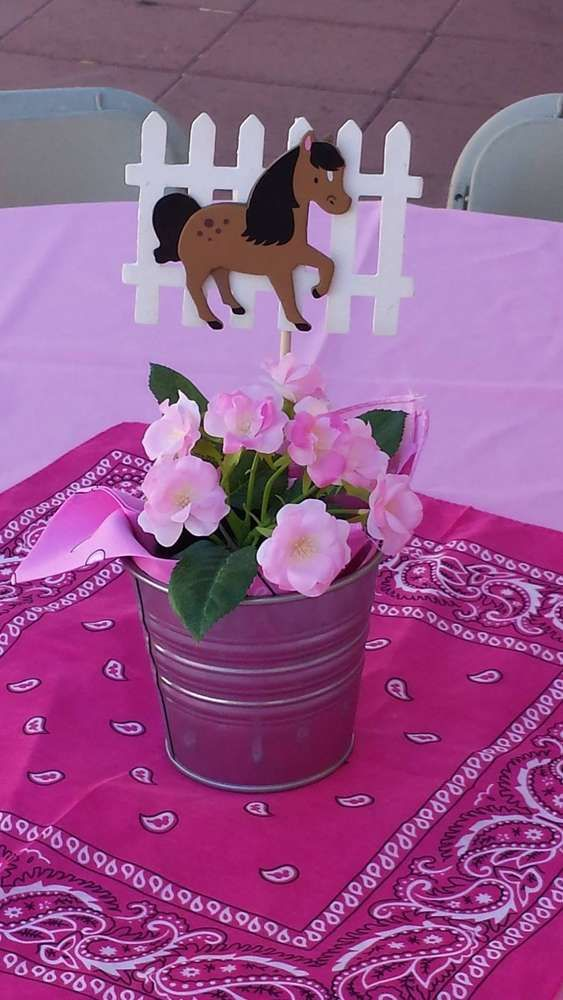 Horse centerpiece at a cowgirl birthday party! See more party ideas at CatchMyParty.com!