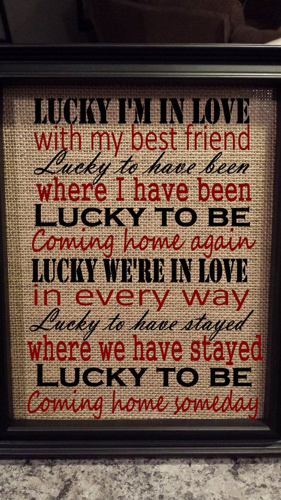Framed Burlap Print  Lucky Jason Mraz Lyrics  by DideschDelights, $25.00