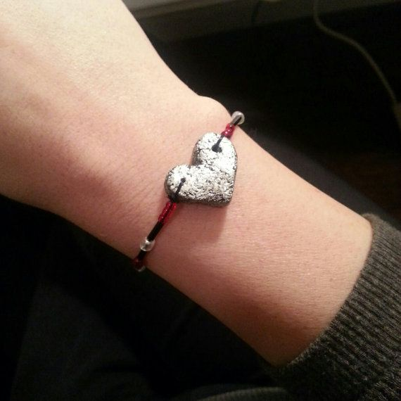 Salt dough heart bracelet by Skullywag13 on Etsy, $3.00