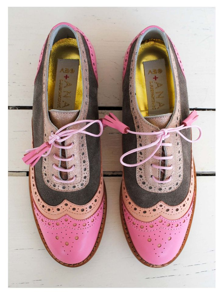 3-Tone Pink & Grey Brogues