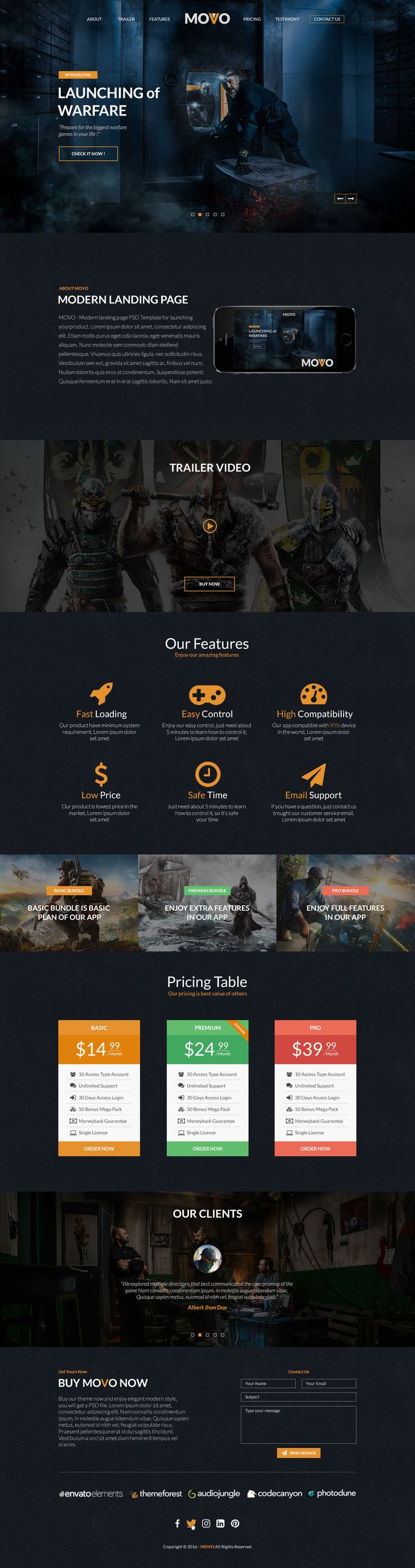 MOVO – One Page Landing page for App or Games PSD Template is designed with a clean and modern layout. This template can be used for App/Games/Corporate/Multipurpose company. Template Info Mo...