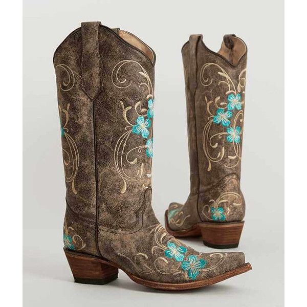 Circle G By Corral Embroidered Cowboy Boot - Brown US 10 ($128) ❤ liked on Polyvore featuring shoes, boots, tall boots, tall cowgirl boots, embroidered cowboy boots, tall brown boots and embroidered boots