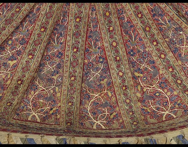 Royal Round Tent Made for Muhammad Shah (ruled 1834–48) (detail). Iran, Rasht, Qajar period (1779–1925). Interior: Plain weave: inlaid work, wool; embroidery: chain stitch, silk; tape, leather, rope. Exterior: Plain weave: cotton; iron ring, rope; h: 360 cm, diam: 400 cm. Purchase from the J. H. Wade Fund 2014.388.
