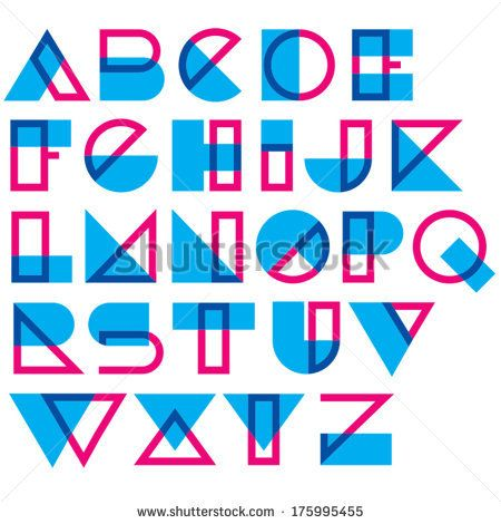 Geometric type. Blended lines and shapes - stock vector