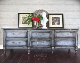 VENDIDO - aparador, aparador, Vintage, Buffet, muebles gris, pintado, mano cómoda pintada, pintada, muebles de casa, consola de TV