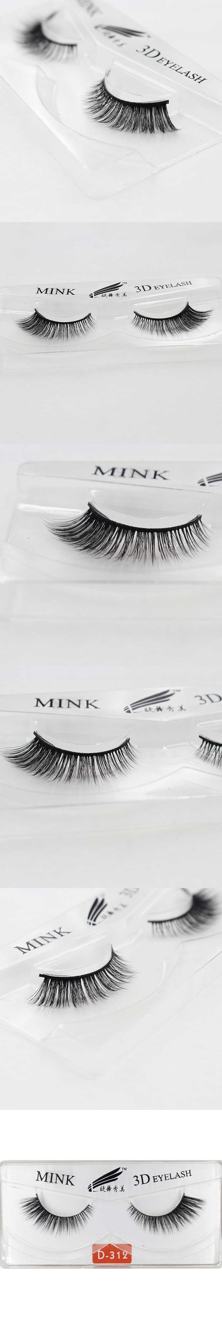 2 Pairs Winged 3D Mink Eyelashes Extension False Eye Lashes +Box Cilios Posticos Naturais Faux Cils Wimpern Nep Wimpers D312-S2