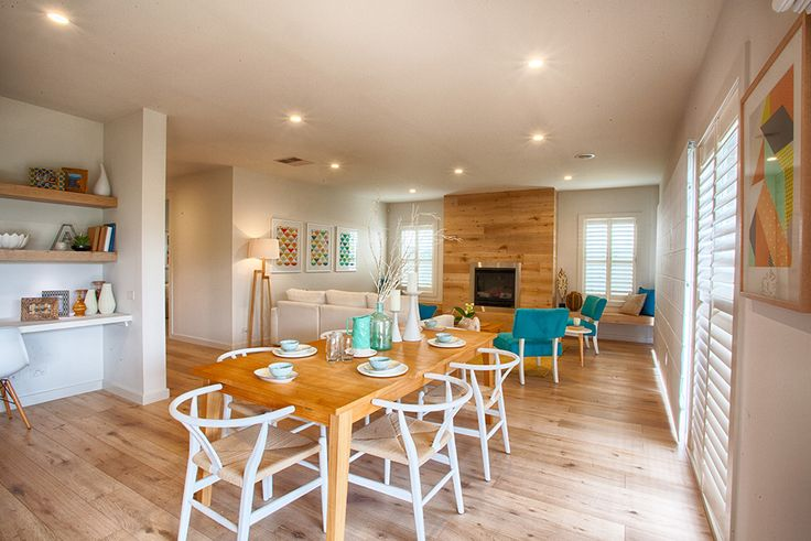 Open Plan Meals And Family Area With A Study Nook Beautiful Coastal Theme Timber