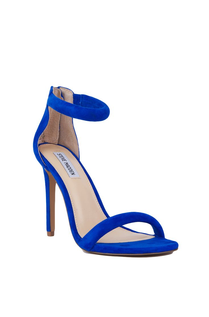 Blue Suede Ankle Strap Heels