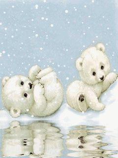 ❄️ CUTE WINTER SNOW BABY POLAR BEARS GIF ❄️
