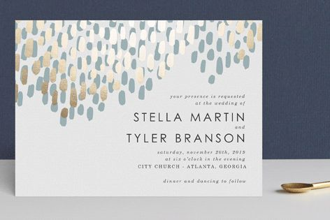 """""""Modern Dash"""" - Abstract, Modern Foil-pressed Wedding Invitations in Gold by Makewells."""